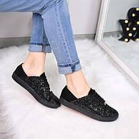 Кеды женские Urban на шнурках черная замша пайетки 3421 , спортивная обувь