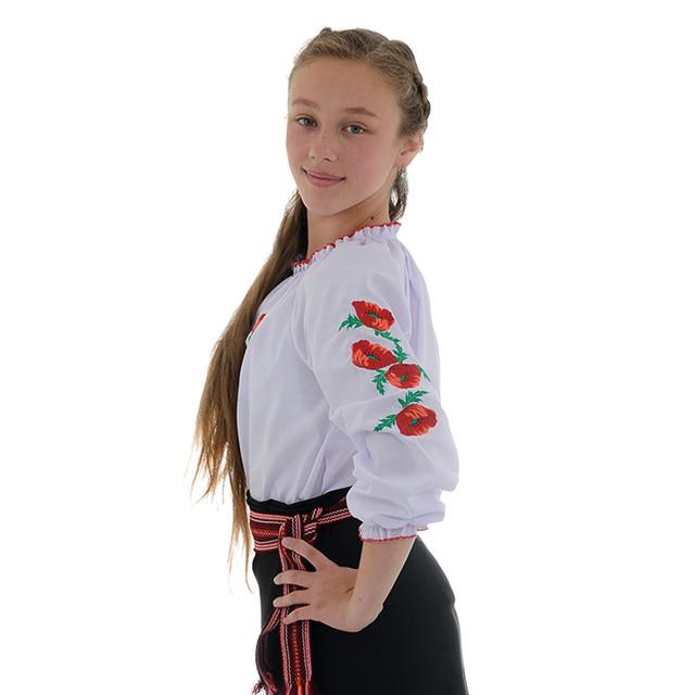 Подростковая блуза вышиванка для девочки Маковая роса