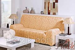 Чехол на диван натяжной 3-х местный Испания, Vanesa Gold Ванеса золотой
