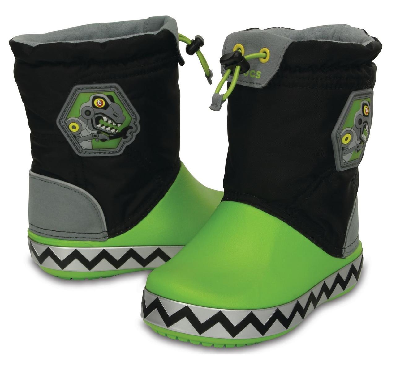 Сапоги зимние для мальчика Crocs Kids CrocsLights LodgePoint RoboSaur Boot / непромокаемые светящиеся Робозавр