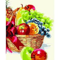 Картина для рисования по номерам Корзина с фруктами Идейка (KH2910) 40 х 50 см