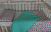 """Постільна білизна в ліжечко """"Різнокольорові сердечка"""" 1263"""