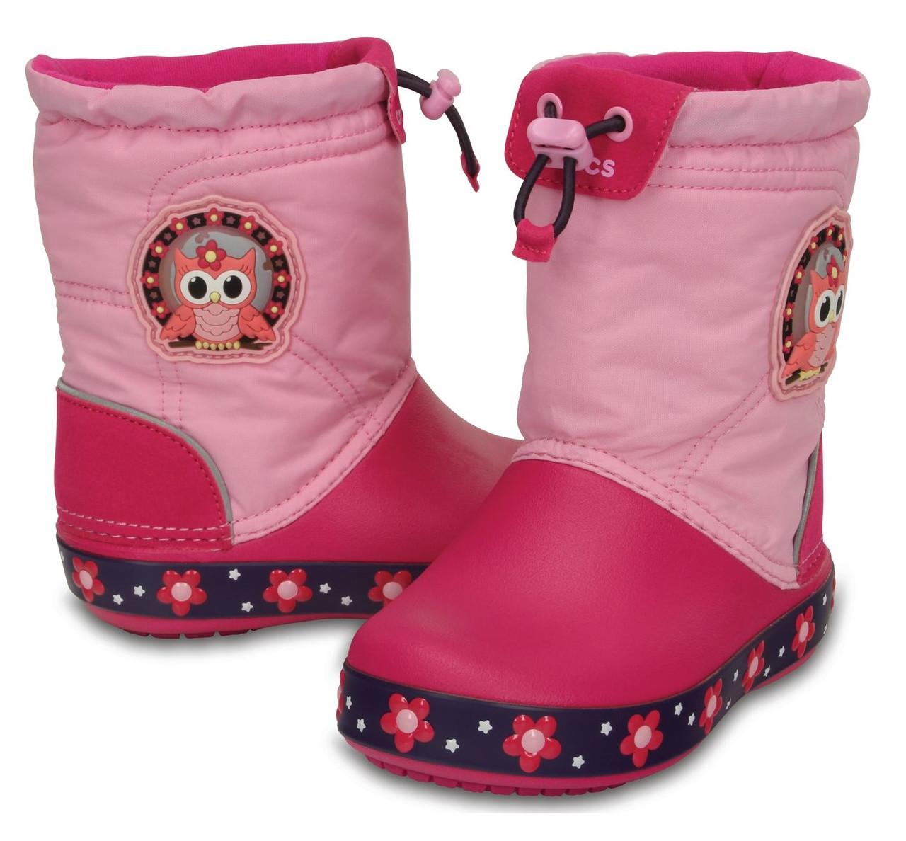 Сапоги зимние для девочки Crocs Kids CrocsLights LodgePoint Night Owl Boot / непромокаемые светящиеся Сова