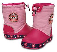 Сапоги зимние для девочки Crocs Kids CrocsLights LodgePoint Night Owl Boot / непромокаемые светящиеся Сова, фото 1