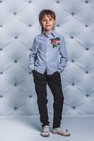 Школьная, нарядная, модная блузка с розой для девочки  рост - 122, 128, 134, 140, 146, 152