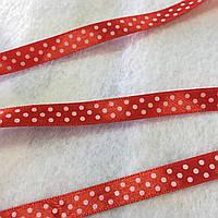 Лента атласная красная в горошек, ширина 1 см, фото 1
