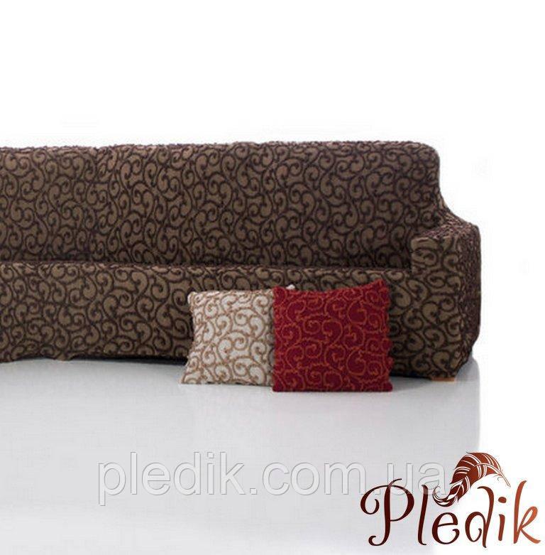 Чохол на диван натяжна 3-х місний Іспанія, Dickson Brown Діксон коричневий