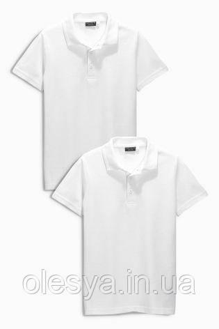 Школьная рубашка поло белого цвета Некст на мальчика Хлопок Размер 116