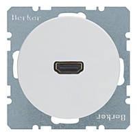 HDMI розетка (подключение сзади под углом 90 градусов) Berker R.1/R.3 Полярная Белизна (3315432089)