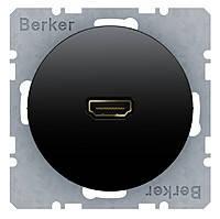 HDMI розетка (подключение сзади под углом 90 градусов) Berker R.1/R.3 Чёрный (3315432045)