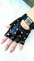 Перчатки без пальцев с клёпкой детские и женские