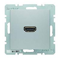 HDMI розетка (подключение сзади под углом 90 градусов) Berker B.3/B.7 Алюминий (3315431404)