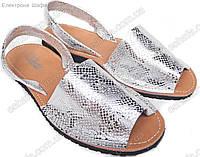 Женские кожаные сандалии  Менорки серебристая змея