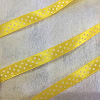 Лента атласная желтая в горошек, ширина 1 см