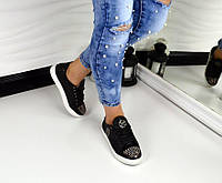 Трендовые натуральные кожаные кеды РР черного цвета с шипами на носочке