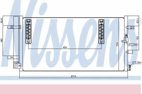 Радиатор кондиционера Audi A4 2008- 674*334мм по сотах (с осушителем) KEMP