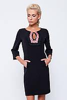 Жіноча нарядна сукня принт вишивка чорного кольору рукав три чверті 134-с02