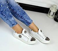Трендовые натуральные кожаные кеды РР белого цвета с шипами на носочке