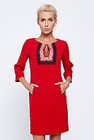 Жіноча нарядна сукня + вишивка червоного кольору рукав три чверті 134-с01