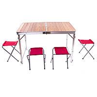Стол кемпинговый складной+4 стула 110*70*70 C03-12