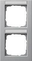 Установочная рамка 2 местная поле для надписи вертикальное Gira E2 Алюминий (110225)