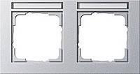 Установочная рамка 2 местная поле для надписи горизонтальное Gira E2 Алюминий (109225)