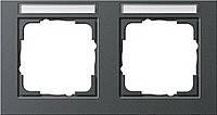 Установочная рамка 2 местная поле для надписи горизонтальное Gira E2 Антрацит (109223)