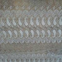 Тюль фатин вышивка Белый узор