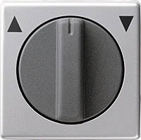 Накладка с поворотной ручкой для выключателей системы управления жалюзи Gira E22 Алюминий (666203)