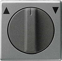 Накладка с поворотной ручкой для выключателя системы управления жалюзи Gira E22 Сталь (066620)