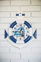 """Часы деревянные """"Спасательный круг с якорем"""""""