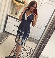 Женский красивый джинсовый сарафан с вышивкой (2 цвета) М, синий