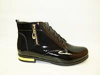 Ботинки женские черные натуральная кожа Д494 р 38,39,40