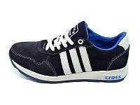 Подростковые кроссовки с натуральной кожи замш Cross Fit 30 Suede Dark Blue