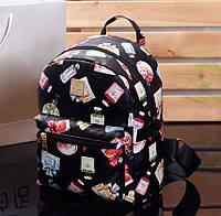 Женский маленький рюкзак экокожа Черный с принтом