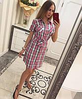 Женское повседневное платье-рубашка с поясом (5 цветов)