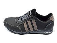 Подростковые мужские кроссовки с натуральной кожи Cross Fit 30 Black Gray