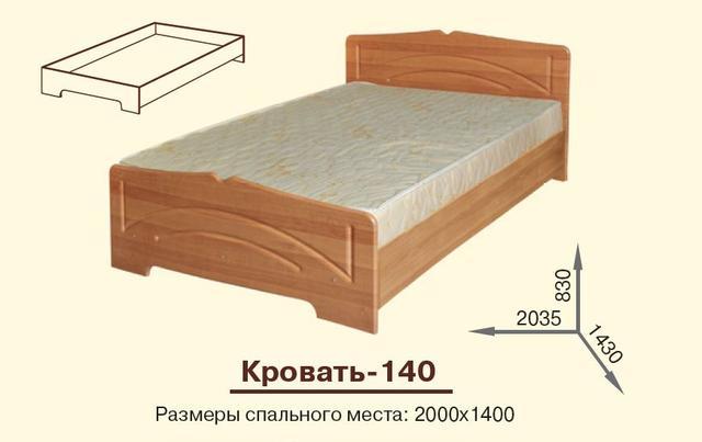 Кровать полуторная Гера (размеры)