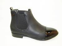 Ботинки женские черные лаковый носок Д504 р 36,37,38,39,40,41