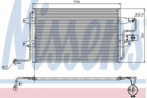 Радиатор кондиционера Volkswagen Golf 4 (с осушителем) 590*361мм по сотах KEMP