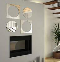 Красивый декор стен - акриловое зеркало «Круги и квадраты», размер