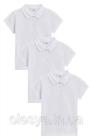 Школьная рубашка поло цвет белый Некст на девочку 9 лет Размер 134