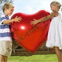 Фольгированные воздушные шары, форма:сердце, цвет: красный, 28 дюймов/70 см, 1 штука