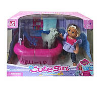 Кукла с собачкой,ванна K899-16, пластик (Кукла с)