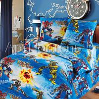 Подростковое полуторное постельное белье с простыню на резинке 90*200*25-Трансформеры, бязь ГОСТ