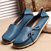 Туфли женские голубые натуральная кожа Т763 р 37,42