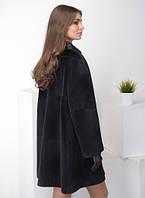 Шуба из меха стриженной нутрии чёрного цвета, силуэт прямой 80 см, фото 1