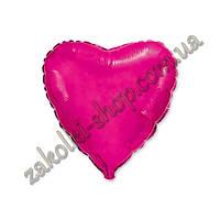 Фольгированные воздушные шары, форма:сердце, цвет: малиновый, 18 дюймов/45 см, 1 штука