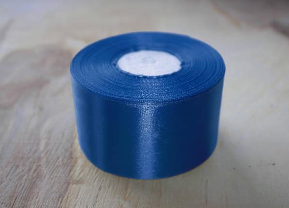 Лента атласная синяя 5 см, моток 33 м., фото 2