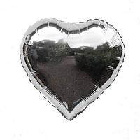 Фольгированные воздушные шары, форма:сердце, цвет: серебро, 18 дюймов/45 см, 1 штука